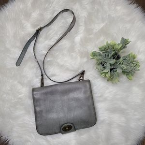 Fossil Leather Saddle Buckle Crossbody Bag